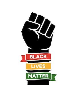 Progettazione dell'illustrazione del manifesto della materia della vita nera. pugno alzato