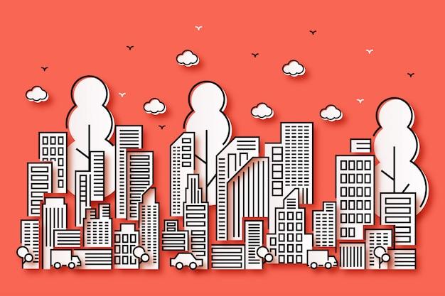 Progettazione dell'illustrazione della città con bello stile di carta