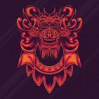 Progettazione dell'illustrazione della cultura del barong di balinese