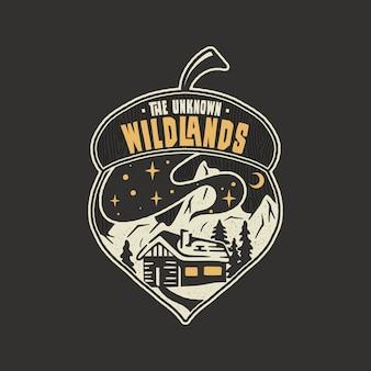 Progettazione dell'illustrazione della ghianda del distintivo di campeggio. logo da esterno con citazione - the wildlands unknown