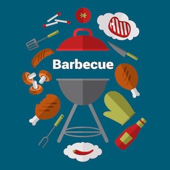 Progettazione dell'illustrazione della griglia del barbecue.