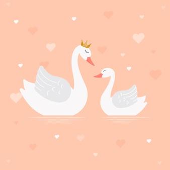 Progettazione dell'illustrazione della principessa del cigno