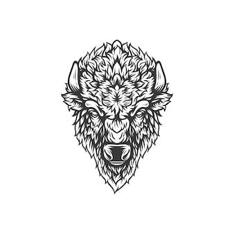 Progettazione dell'illustrazione della testa del bisonte