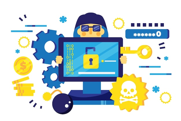 Progettazione dell'illustrazione di attività del pirata informatico
