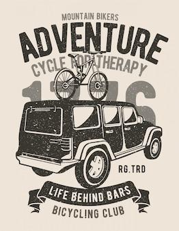 Progettazione dell'illustrazione di avventura degli appassionati di mountain bike