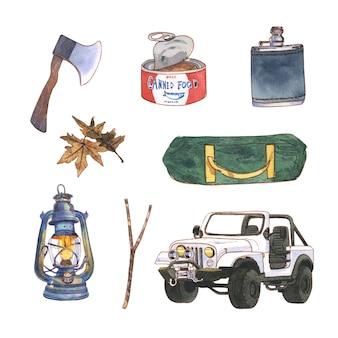 Progettazione dell'illustrazione di campeggio con l'acquerello per uso decorativo.