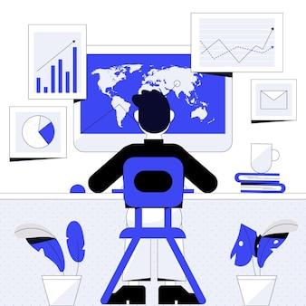 Progettazione dell'illustrazione di lavoro del commerciante