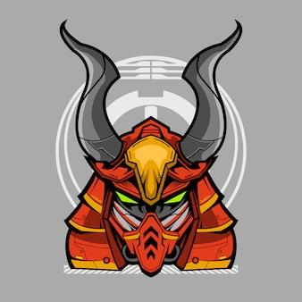 Progettazione dell'illustrazione di mecha della testa del samurai di ronin