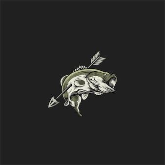 Progettazione dell'illustrazione di pesca del basso