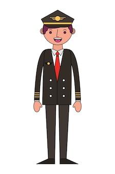 Progettazione dell'illustrazione di vettore del carattere dell'avatar del pilota dell'aeroplano