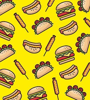 Progettazione dell'illustrazione di vettore del fondo del modello del fast food