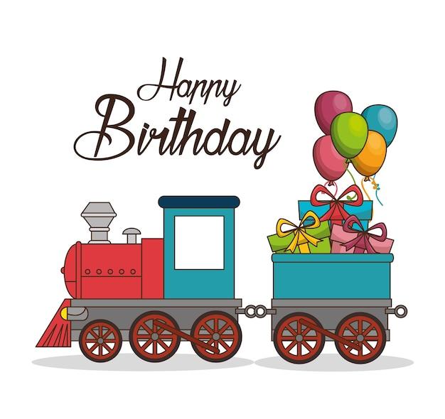 Progettazione dell'illustrazione di vettore del manifesto del treno di buon compleanno
