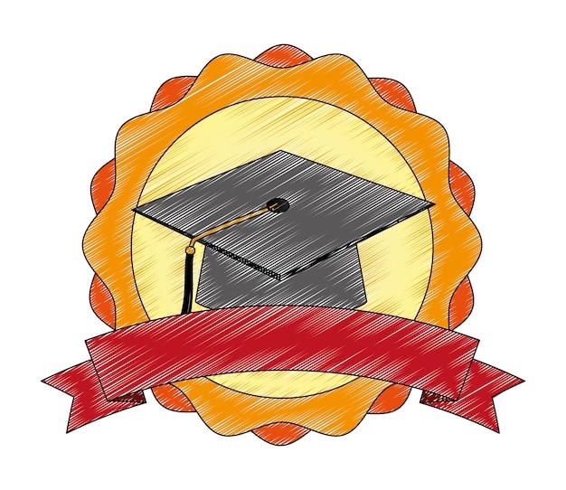 Progettazione dell'illustrazione di vettore dell'emblema del sigillo di graduazione del cappello