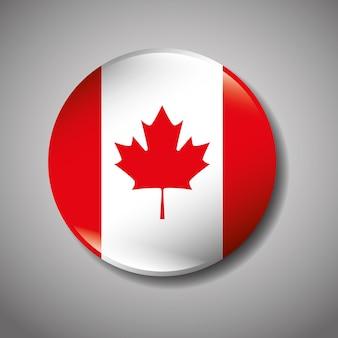 Progettazione dell'illustrazione di vettore dell'icona del bottone della bandiera canadese