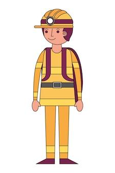 Progettazione dell'illustrazione di vettore dell'icona del carattere dell'avatar del pompiere