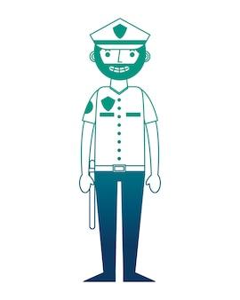 Progettazione dell'illustrazione di vettore dell'icona del carattere della polizia dell'ufficiale
