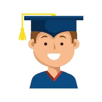 Progettazione dell'illustrazione di vettore dell'icona dell'uniforme di graduazione dello studente