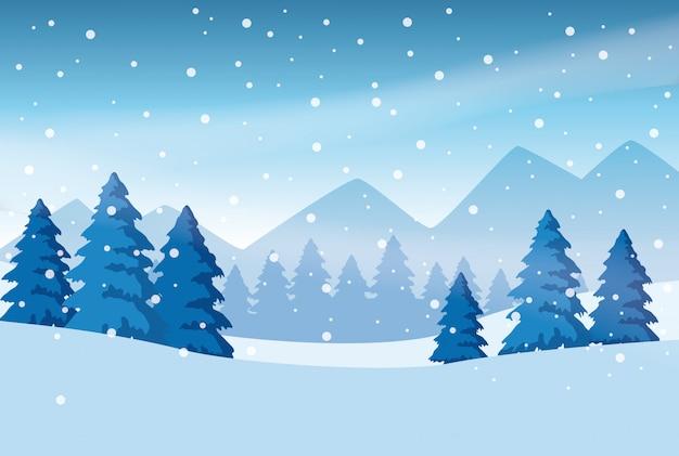 Progettazione dell'illustrazione di vettore dell'icona della natura di scena dello snowscape della foresta