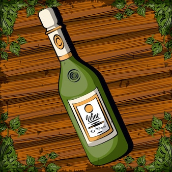 Progettazione dell'illustrazione di vettore dell'icona isolata bevanda della bottiglia di vino