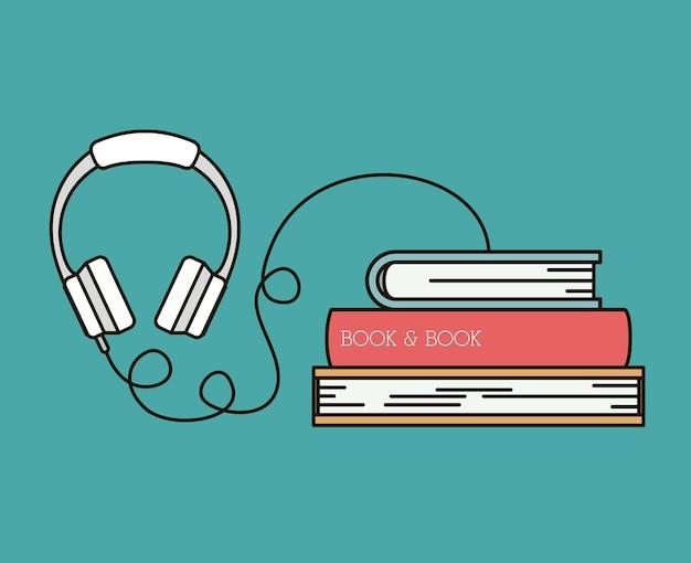 Progettazione dell'illustrazione di vettore dell'icona isolata libro audio