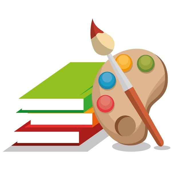 Progettazione dell'illustrazione di vettore dell'icona isolata scuola dei libri