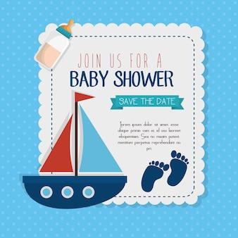 Progettazione dell'illustrazione di vettore della carta dell'invito della doccia di bambino