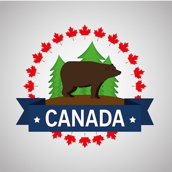 Progettazione dell'illustrazione di vettore della struttura del canadese dell'orso grigio