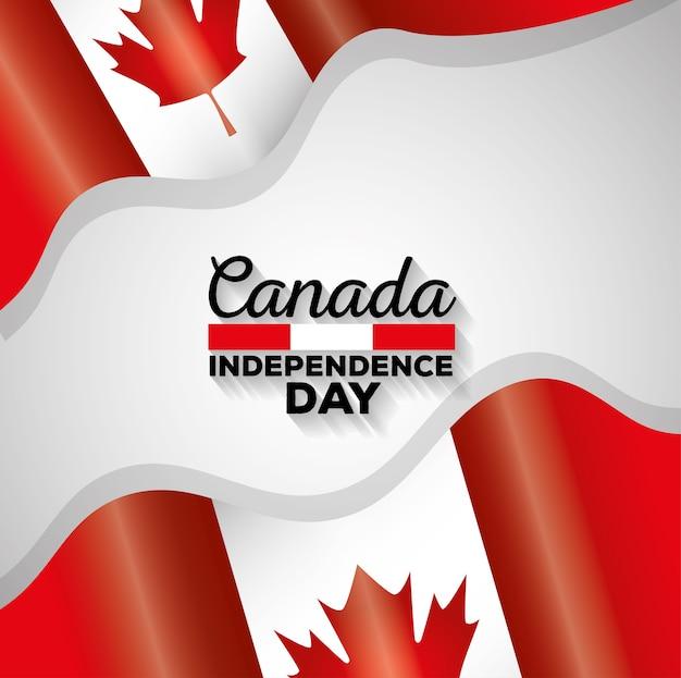 Progettazione dell'illustrazione di vettore delle bandiere del giorno dell'indipendenza del canada