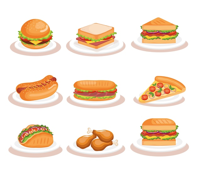 Progettazione dell'illustrazione di vettore delle icone del fast food delizioso