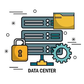 Progettazione dell'illustrazione di vettore delle icone della linea piana del centro dati
