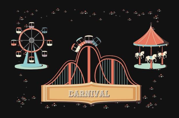 Progettazione dell'illustrazione di vettore delle icone della raccolta dell'insieme di carnevale