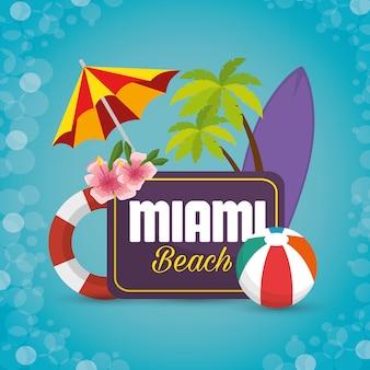Progettazione dell'illustrazione di vettore delle icone di estate della spiaggia di miami