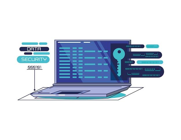 Progettazione dell'illustrazione di vettore delle icone di tecnologia di sicurezza di dati