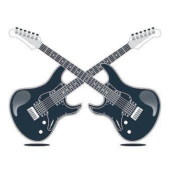 Progettazione dell'illustrazione di vettore dello strumento elettrico della chitarra