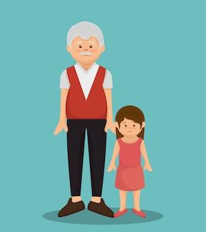 Progettazione dell'illustrazione di vettore di avatar del membro di carattere del nonno