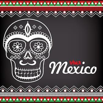 Progettazione dell'illustrazione di vettore di celebrazione del manifesto di viva mexico