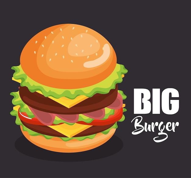 Progettazione dell'illustrazione di vettore di fast food del grande hamburger delizioso
