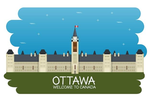 Progettazione dell'illustrazione di vettore di scena di paesaggio urbano del canada di ottawa