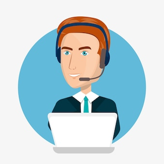 Progettazione dell'illustrazione di vettore di servizio di assistenza al cliente del centro di chiamata