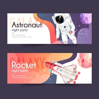 Progettazione dell'insegna della galassia con l'astronauta, razzo, illustrazione dell'acquerello del pianeta.