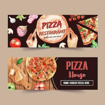 Progettazione dell'insegna della pizza con formaggio, pizza, fungo, illustrazione dell'acquerello del basilico.