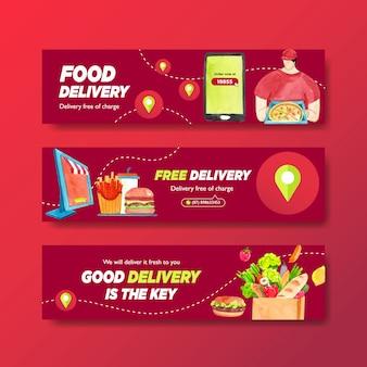 Progettazione dell'insegna di consegna con l'alimento, la verdura, il trasporto e l'illustrazione logistica dell'acquerello.