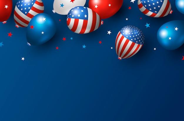 Progettazione dell'insegna di festa dell'america dei palloni di usa su fondo blu