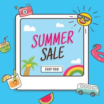 Progettazione dell'insegna di vendita di estate con gli elementi di scarabocchio