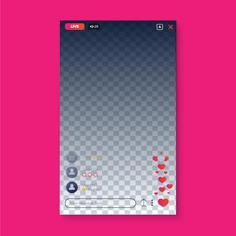 Progettazione dell'interfaccia instagram in streaming live