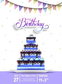 Progettazione dell'invito di buon compleanno con la grande torta blu per l'evento di celebrazione