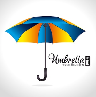 Progettazione dell'ombrello sopra l'illustrazione bianca di vettore del fondo