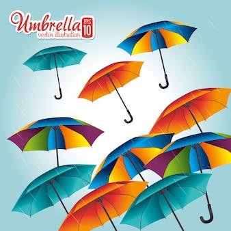 Progettazione dell'ombrello sopra l'illustrazione blu di vettore del fondo