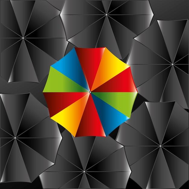 Progettazione dell'ombrello sopra l'illustrazione nera di vettore del fondo