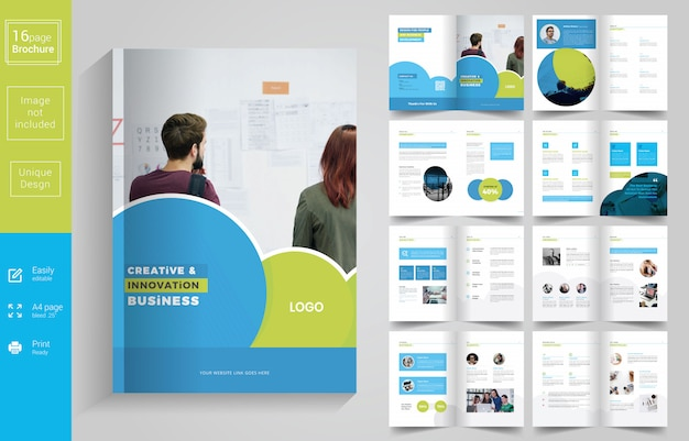 Progettazione dell'opuscolo blu minimal business